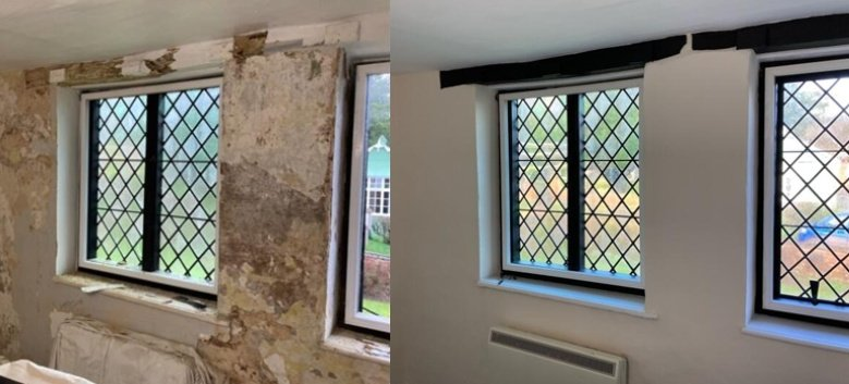 A white wall with window in it. This is a split image showing a window in one of the Farley Hospital cottages. Part of the image shows the wall and window before restoration and other afterwards.